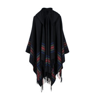 Wholesale Warm Ponchos For Women - New Women Fashion Hooded Cape Shawl The Oversize Shawls Capes Women Autumn Warm Stole Coat For Female RO16058