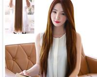 Wholesale Korean Long Straight Hair - Woman Straight hair piece Korean simulation long hair woman Long straight hair #L04711