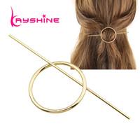 Wholesale Circle Hair Clips - Minimalist Hair Jewelry Gold Silver Color Geometric Circle Hair Sticks Hairwear Fashion Hair Accessories