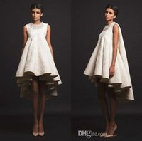 Wholesale Detailed Formal Dresses - Krikor Jabotian 2017 Ivory Short Cocktail Party Formal Dresses Handmade Detail High Low Women's Fashion Occasion Prom Gowns