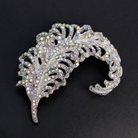 Bulk Argento Diamante Rhinestone piuma Brooch Broach Grande foglia Wedding Bridal Bouquet Spilla Pin Wedding Invitation Decor