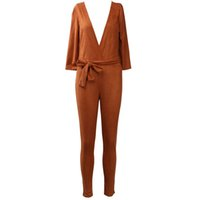 Wholesale Trendy Women Jumpsuits - Wholesale- New Trendy Women Sexy Deep V Neck Plunge Bodycon Suede Belt Jumpsuit Sexy Long Sleeves Party Clubwear