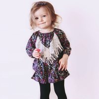 Wholesale Dolls Tutus - Baby Girl Dress Long Sleeve Floral Dresses Lace Tassel Babies Toddler Clothing Dress For Girls Flowers Party Doll Dresses Navy A7219