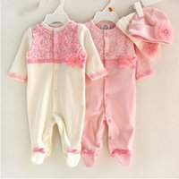 newborn baby girl gift sets NZ - Princess Style Newborn Baby Girl Clothes Girls Lace Rompers+Hats Baby Clothing Sets Infant Jumpsuit Gifts