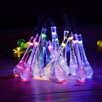 Wholesale Solar Lights Outdoor Wedding - Newest Solar Powered 20 LED Icicle Raindrop String Fairy Light Outdoor Garden Wedding XMas Christmas Tree Decor