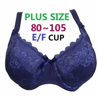 Wholesale F Pads - Plus size Underwired Non-padded Ultra thin Sexy Full Lace Coverage Big Cup Volumn Bras 80-105 E F Cup Bra Free Shipping H188