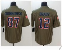 Nouveau # 12 Tom Brady 87 Rob Gronkowski American College Football Uniformes Chemises Stitched Embroidery Salut pour servir les hommes Sports Team Jerseys