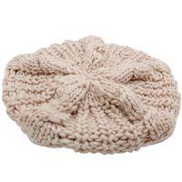 Wholesale fancy beanies - Wholesale-2016 Girls Beige Soft Fashion Fancy New Winter Warm Womens Beret Braided Baggy Beanie Knitted Hat Cap Gorras planas