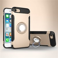Wholesale Dirt Shock Proof Iphone - Hybrid TPU+PC 2-in-1 Armor Case Shock-Proof Cases 360 Ring Stand Holder Magnetic Back Cover For iPhone 7 6S Plus Samsung S8 S7 Edge