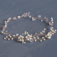 Wholesale Diy Pearl Tiara - Handmade Pearls Flower Vine Tiara Headbands Wedding Bridal Hair Jewelry Accessories Soft Diy Head Chain For Bride Hair Ornaments