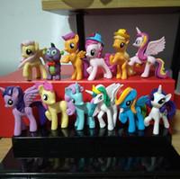 Wholesale Dolls Horse - 12 pcs set 6-7cm cute pvc horse action toy figures toy doll Earth ponies Unicorn Pegasus Alicorn Bat ponies Figure Dolls For Girl