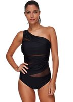 Wholesale Online Suit - New Sexy in Women Black One Shoulder Padded One Piece Swimwear Wholesale Insert Mesh Summer Beachwear Bathing Suits Fashion Swimsuits Online