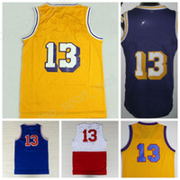 Wholesale Discount Black Uniforms - Discount 13 Wilt Chamberlain Throwback Jerseys Basketball Wilt Chamberlain Retro Uniforms Home Yellow Purple White Blue with player name