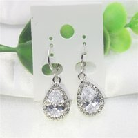 Wholesale Chandeliers Clear Black - Luxury pear cut clear white cubic zirconia drill women earrings fashion jewelry for the bride's wedding