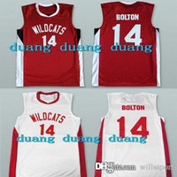 Wholesale Red High Waisted Shorts - Free Shipping Men's #14 Zac Efron Troy Bolton High School Musical Wildcats Basketball Jerseys Red White Stitched Sport Jerseys