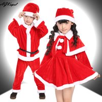 Wholesale Children Costumes Boys - Wholesale- 2016 New Christmas Baby Romper Boy Girl Xmas Sets Children Christmas Dress Kid Santa Claus Costume Children's Christmas Suit