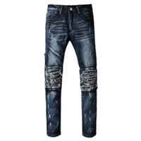 Wholesale Leather Hot Pants For Sale - Hot Sale 2017 Men's casual hole ripped pleated biker jeans for Men Fashion patchwork PU leather patch slim Fit denim pants Long trousers