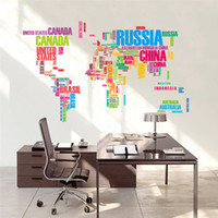 Wholesale Map Wall Art Diy - colorful letters world map wall stickers living room home decorations creative pvc decal mural art diy office wall art