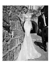 Wholesale Collared Long Sleeved Wedding Dresses - Long-sleeved fish tail wedding dress 2017 spring luxury lace dew sexy deep V collar slim slender bridal gowns