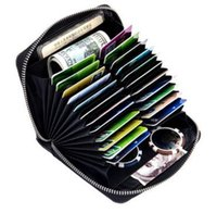 Wholesale large wallet organizer - RFID Genuine Leather Large Capacity Card Bit High Quality Female Credit Card Holders men Pillow Card holder Purse