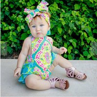 Wholesale Toddler Suits Suspenders - Baby romper sets INS Baby Girls falbala printing suspender jumpsuit +Bows headbands 2pcs sets summer toddler kids printed climb suit T0596