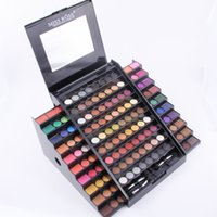 комплект профессиональной косметики оптовых-Wholesale- Miss Rose full professional  kit 130 colors matte shimmer glitter eyeshadow palette in safe packaging with box MS041