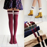 Wholesale Thick Black Socks Women - 7 Colors Fashion Brand Designer Women Over The Knee Socks Thigh High Thick Lovely Girls Princess Knee High Long Socks Puscard