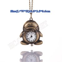Wholesale-Lovely Penguin FOB Relógio de bolso para crianças Gift Necklace Watch With Free Chain