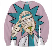 Wholesale Crew Neck Funny Sweatshirts - New Fashion Womens Mens Rick and Morty Funny 3D Print Casual Sweatshirt Tops Plus Size WYS006