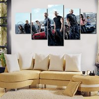 Wholesale Fast Poster Printing - 5pcs set Fast And Furious Moive Poster Giclee (No Frame) Wall Art Oil Painting On Canvas Textured Paintings Picture Decor Living Room Deco