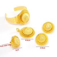Wholesale Real Solid Gold Wedding Ring - NEW hot design Luxury 24k Real Yellow Solid Thick Gold GF Ethiopian sets African  Ethiopian  Eritrean women bangle pendant ring earrings