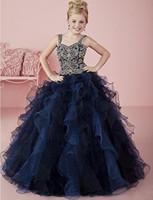 Wholesale Pink Shelves - New shelves Beaded organza crystal Girls' Princess Pageant Ball Gowns Dress Flower Girl Dress Custom Size