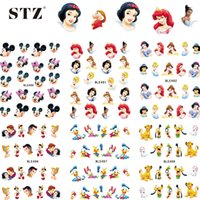 Wholesale Princesses Nail Stickers - Wholesale- 1sheets Water Stickers Nail Art Princess Prince Cartoon Tattoos DIY Beauty Tips of Nail Art Decals Nail Decoration BLE489-499