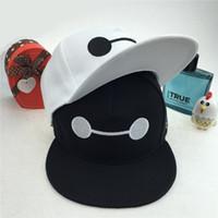 Wholesale Hats Summer Big Sun Mans - stingy brim Cartoon big hero Baymax Hat Snapback hats adjustable baseball cap hat hip hop cap snap back Carras Casquette bone extraction