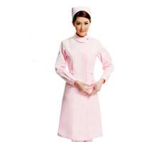 uniformes de enfermería al por mayor-Médico blanco vestido de manga larga enfermera experimento de manga corta experimento bajo farmacia trabajo trabajo de belleza 071