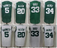 Wholesale Cheap Piercings - Throwback Basketball Jerseys 5 Kevin Garnett 20 Ray Allen 34 Paul Pierce 33 Larry Bird Retro Green Shirts Cheap Stitched Jersey S-XXL