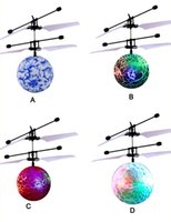 Wholesale Smart Rc Helicopter - RC Flying Ball UFO LED Light Frash Flying Toys Smart Remote Control RC Helicopter Colorful Lights