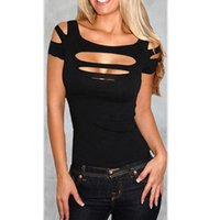 Wholesale Keyhole Cut Out - Wholesale- Ladies Women charming Sexy keyhole Ripped Slashed Black Tight T Shirt Top chic skinny Clubwear Cut out Tee Club Wear