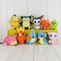 Wholesale Emolga Plush - Wholesale- 10pcs lot 5'' Pokedoll Charmander Mew Emolga Slowpoke Psyduck Lapras Lovely Stuffed Toys Soft Plush Doll
