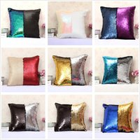 Wholesale Cushioned Car Covers - Fashion gift Magic Glamour Bright Pillow 2 Color Sequin Mermaid Pillow Covers Reversible Cushion Cover Home Sofa Car-styling Decor CASE 1PCS