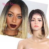 Wholesale cheap ombre braiding hair for sale - short ombre inch bob wigs synthetic wigs for black women synthetic lace front wigs short cheap braids crochet braids hair lace front wig