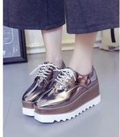 sapatas da idade nova venda por atacado-Europa e nos estados unidos new age temporada cor brilhante sapatos de fundo grosso lace-ups joker moda feminina sapatos