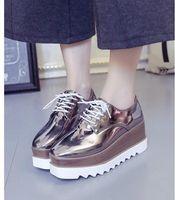 neue altersschuhe großhandel-Europa und die Vereinigten Staaten New Age Saison helle Farbe Schuhe dicken Boden Schnürschuhe Joker weibliche Mode Schuhe