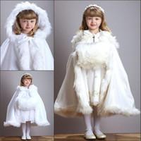 Wholesale White Velvet Cloak - Cute Winter Wedding Coat Princess Flower Grils Bridal Cape Ivory Satin with Fur Trim Wedding Cloak Vintage Christmas Accessories