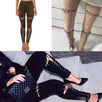 Wholesale High Waist Pans - Lace Up Cut Out Suede Leather Pencil Pants 2017 Street Fashion Casual Outfit Women Trouser Sexy Bandage bodycon high waist pan Legging Pants