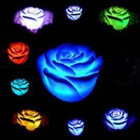 Frete grátis Romântico Rose Flower LED Candle Light Color Changed Lâmpada LED Night Lights For Wedding Party Decoration