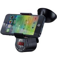 iphone için emiş aparatı toptan satış-Çok fonksiyonlu Handsfree Araç Kiti FM Verici MP3 Ses Çalar Araba Emme Tutucu Dağı iphone IÇIN Cep Telefonu GPS