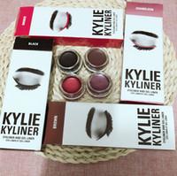 Wholesale eyeliner palette - DHL Free Shipping 4 Colors Kylie Cosmetics KYLINER KIT Eye Liner Pencil Gel Eyeliner Eyeshadow Palette Brush 3 in 1 Set