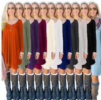 Wholesale Street Blouse - Women T Shirts Fashion Leisure Tops Long Sleeve Casual Blouse European America Street Solid Color Shirts Looses Loose Long Tank KKA2726