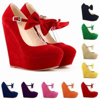 Wholesale Hot Sexy Wedges - Hot Sale Sexy Wedding Women Pumps Fashion Buckle Ladies Shoes Vogue Wedges Shoes Black High Heels Platform Pump Top Quality
